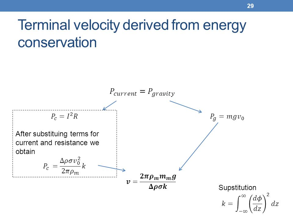Terminal velocity derived from energy conservation