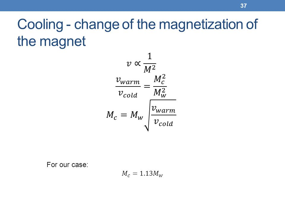 Cooling - change of the magnetization of the magnet