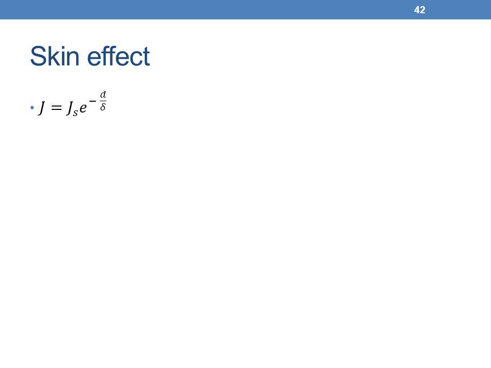 Skin effect 𝐽= 𝐽 𝑠 𝑒 − 𝑑 𝛿