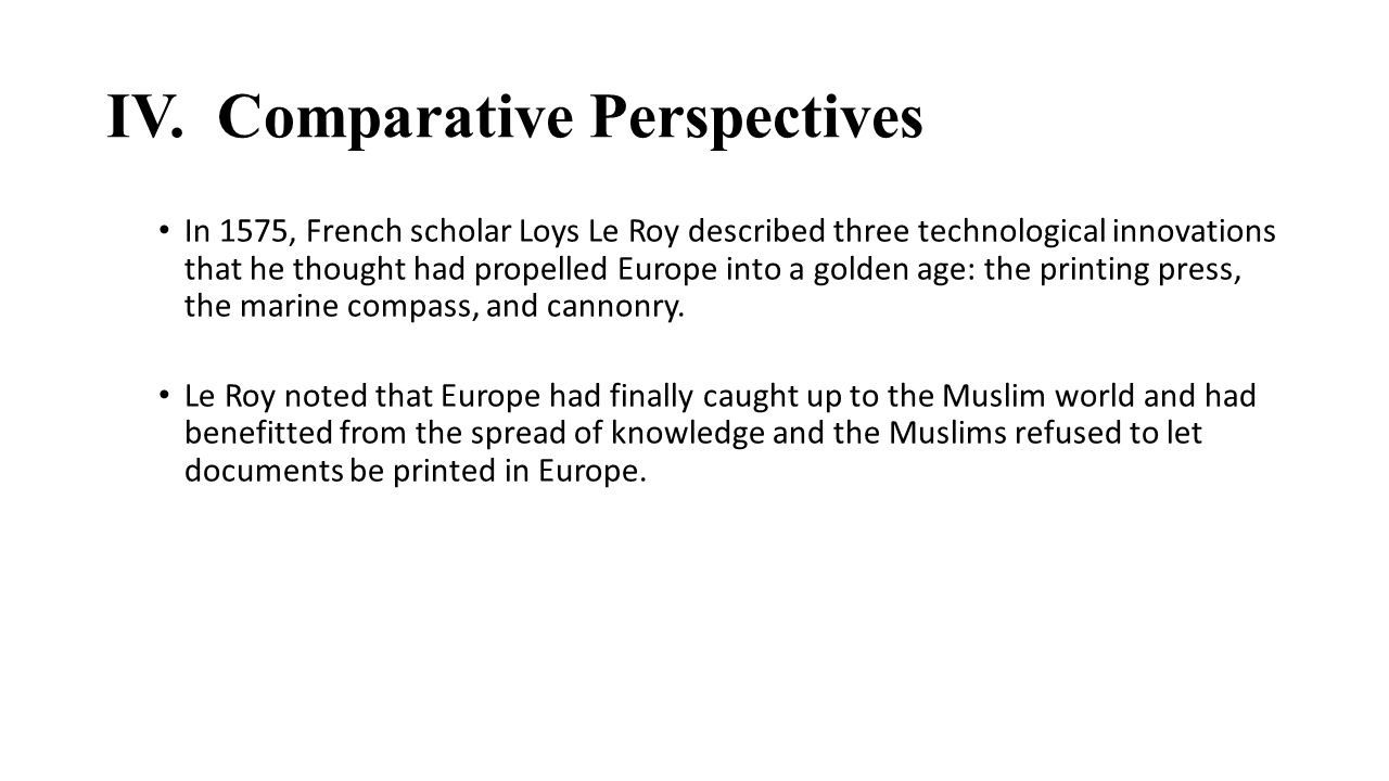 IV. Comparative Perspectives