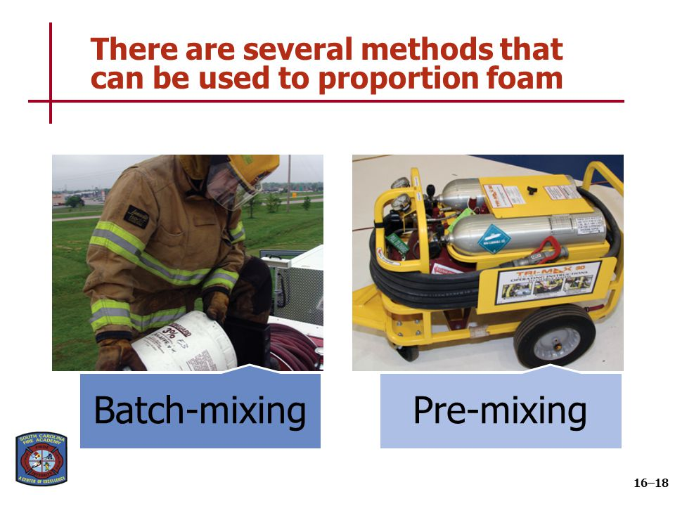 Several pieces of equipment are required to produce a foam fire stream