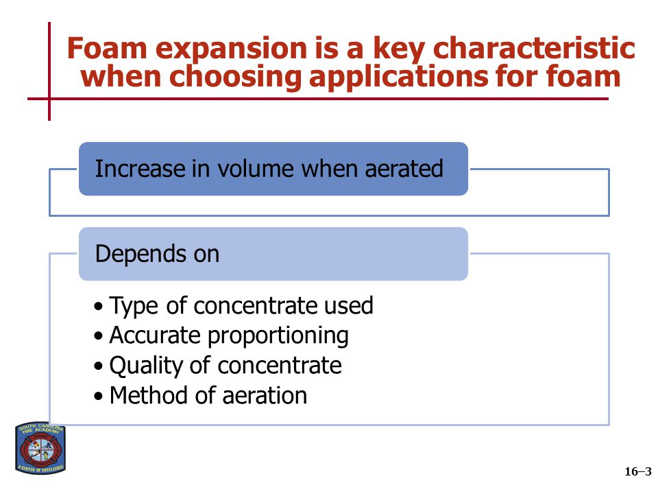 There are three classifications of foam based on expansion rates