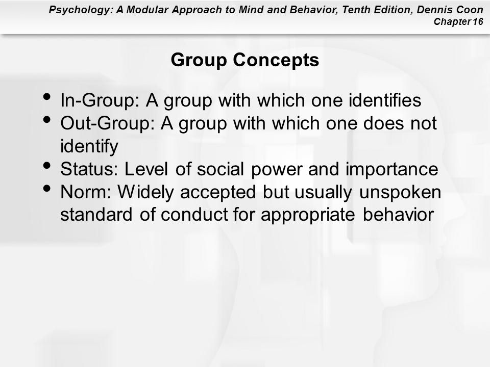 Group Concepts In-Group: A group with which one identifies. Out-Group: A group with which one does not identify.