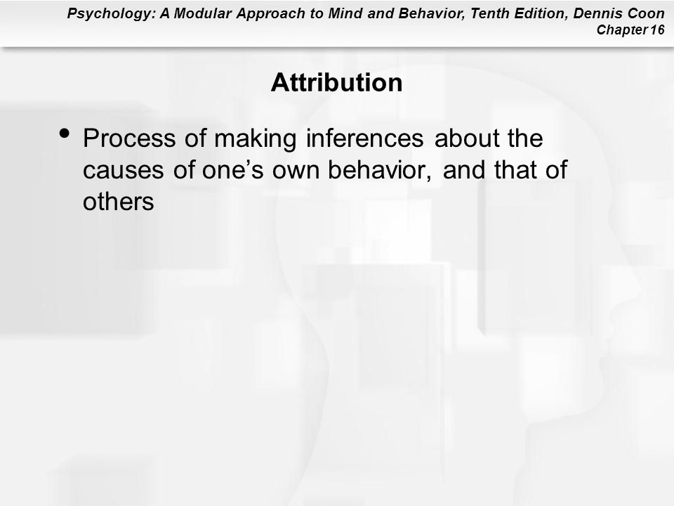 Attribution Process of making inferences about the causes of one's own behavior, and that of others