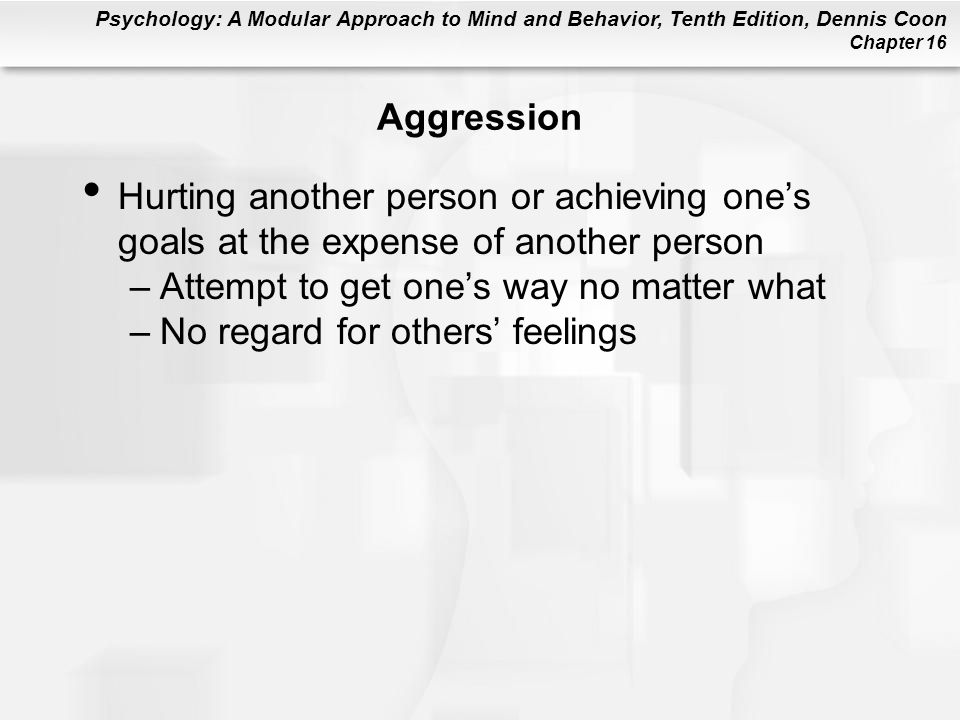 Aggression Hurting another person or achieving one's goals at the expense of another person. Attempt to get one's way no matter what.