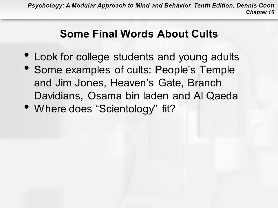 Some Final Words About Cults