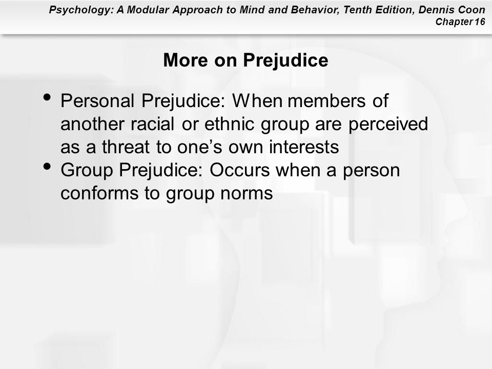 More on Prejudice Personal Prejudice: When members of another racial or ethnic group are perceived as a threat to one's own interests.
