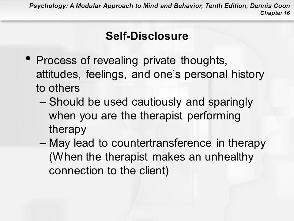 Self-Disclosure Process of revealing private thoughts, attitudes, feelings, and one's personal history to others.