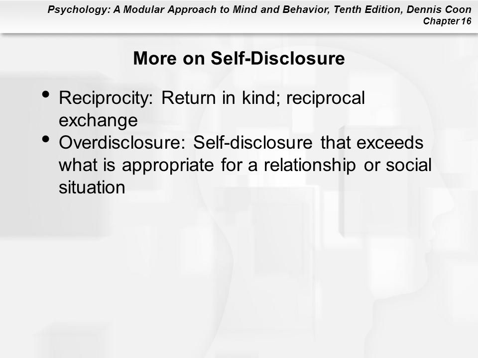 More on Self-Disclosure