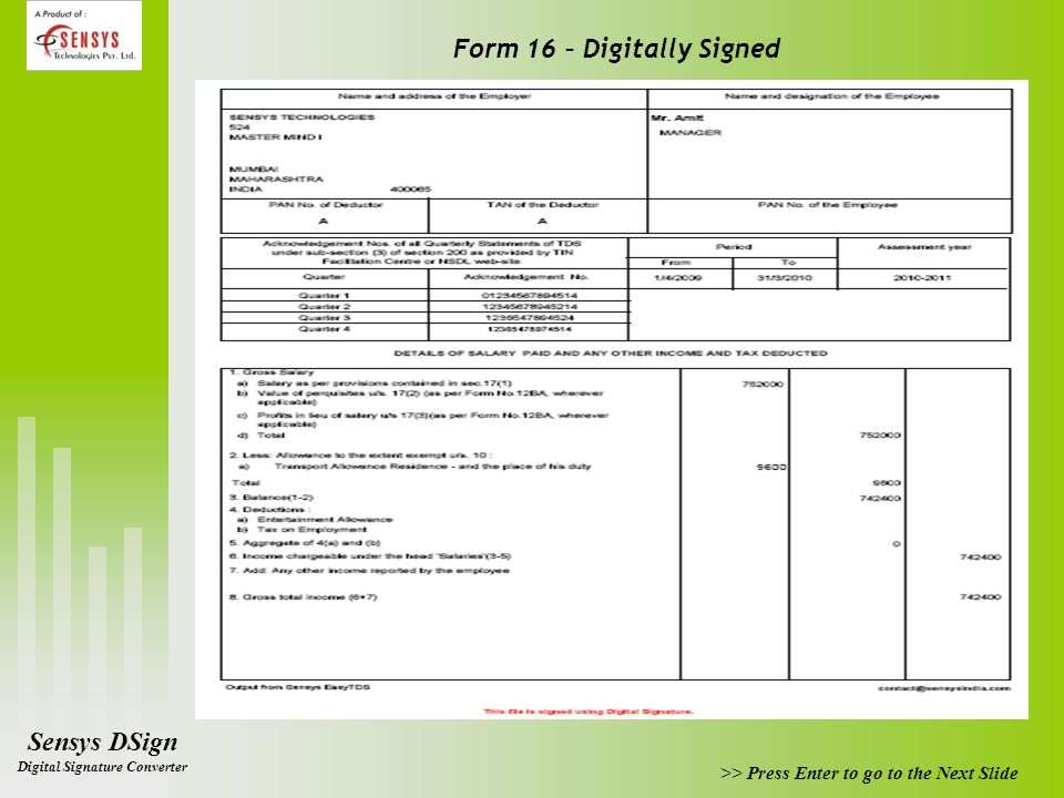Form 16 – Digitally Signed