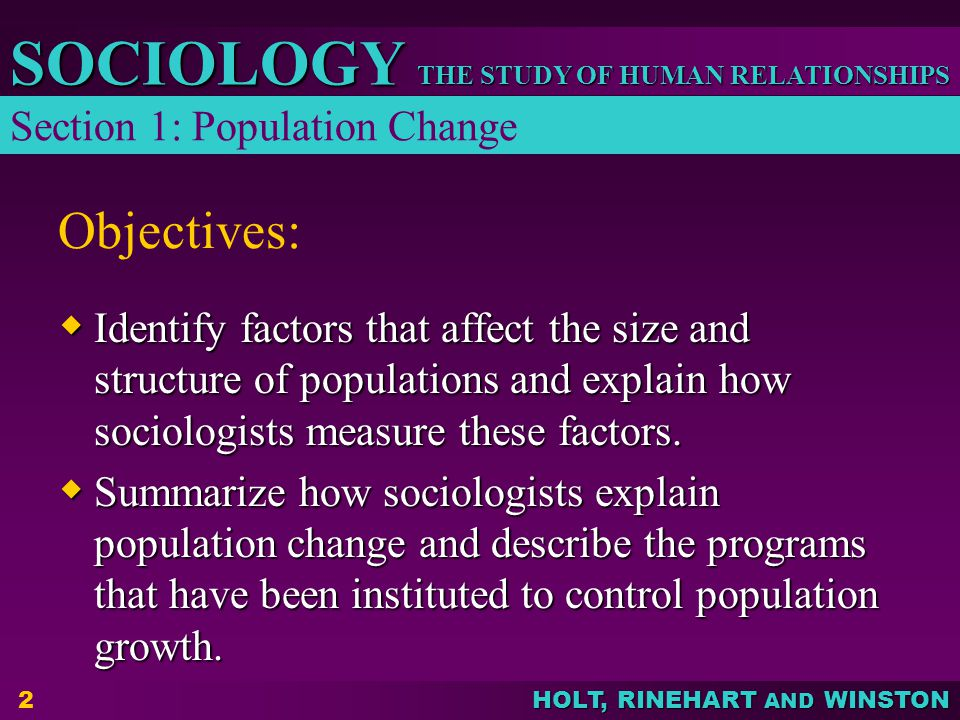 Objectives: Section 1: Population Change