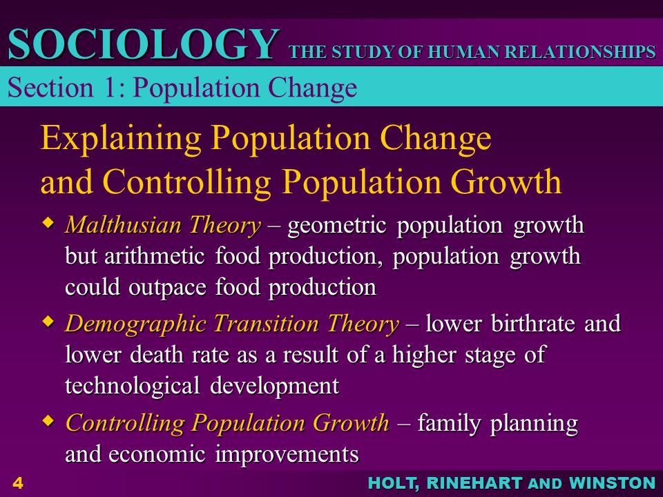 Explaining Population Change and Controlling Population Growth