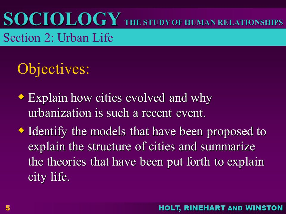 Objectives: Section 2: Urban Life