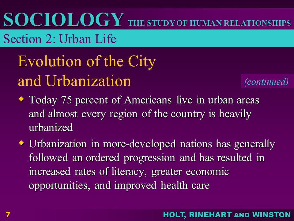 Evolution of the City and Urbanization