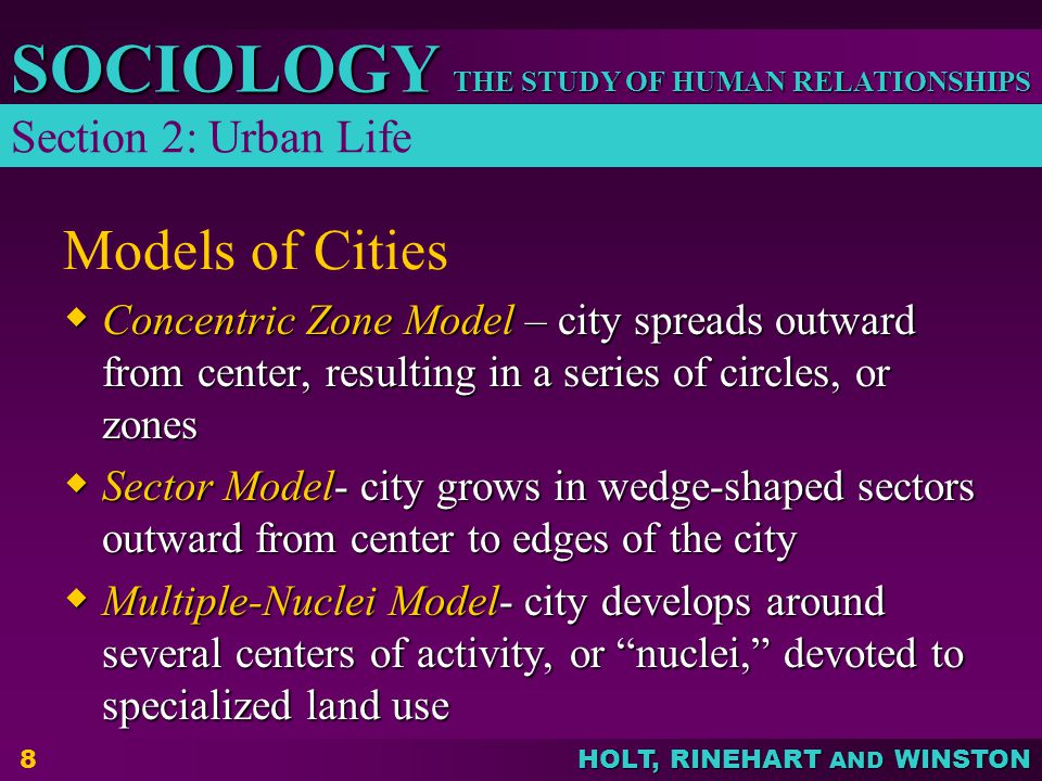 Models of Cities Section 2: Urban Life