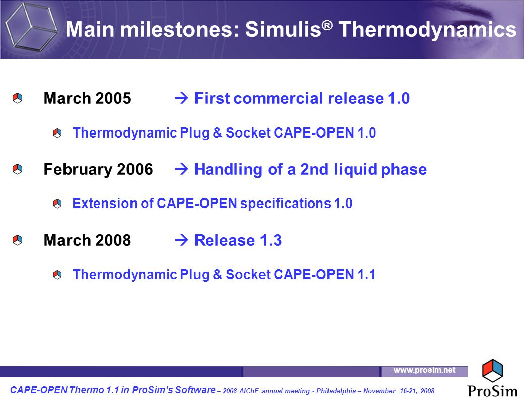 Main milestones: Simulis® Thermodynamics