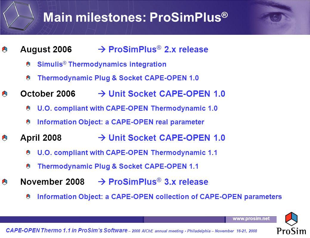 Main milestones: ProSimPlus®