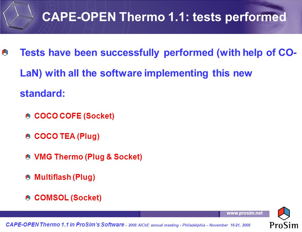 CAPE-OPEN Thermo 1.1: tests performed