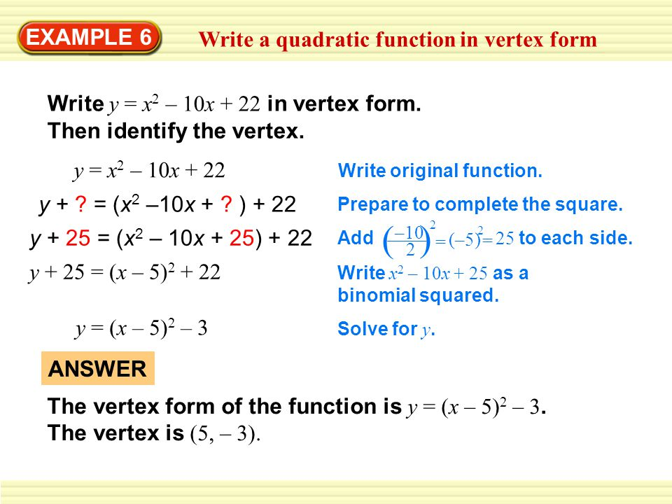 EXAMPLE 6 Write a quadratic function in vertex form - ppt video ...