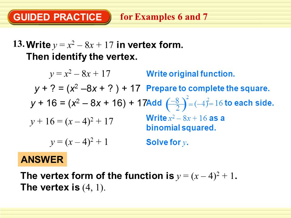 ( ) GUIDED PRACTICE for Examples 6 and 7 13.
