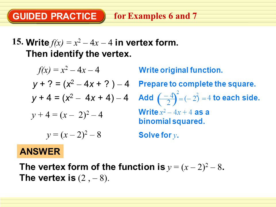 ( ) GUIDED PRACTICE for Examples 6 and 7 15.