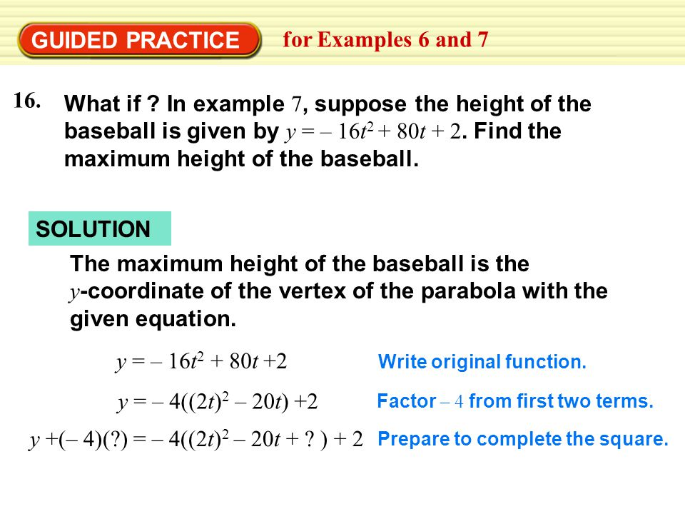 GUIDED PRACTICE for Examples 6 and 7 16.