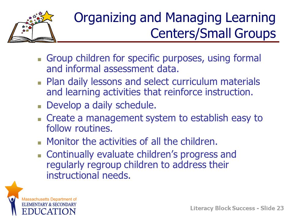 Organizing and Managing Learning Centers/Small Groups