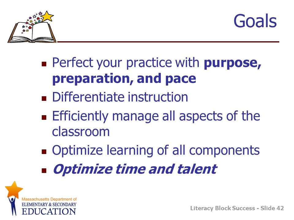 Goals Perfect your practice with purpose, preparation, and pace