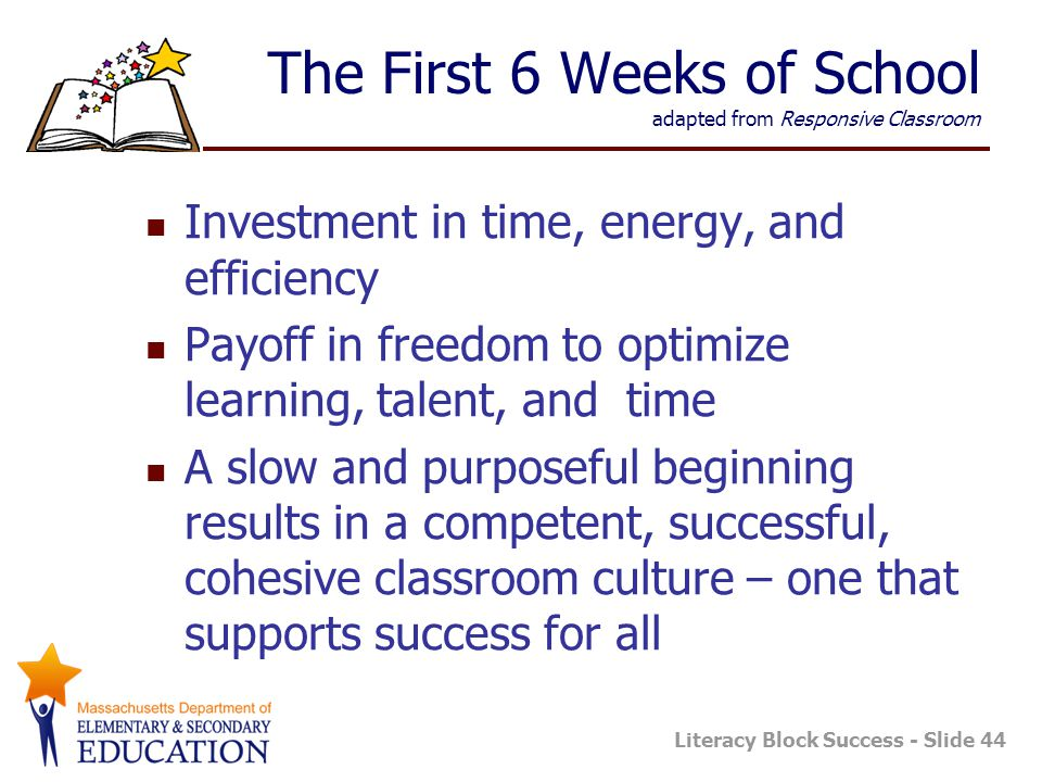 The First 6 Weeks of School adapted from Responsive Classroom