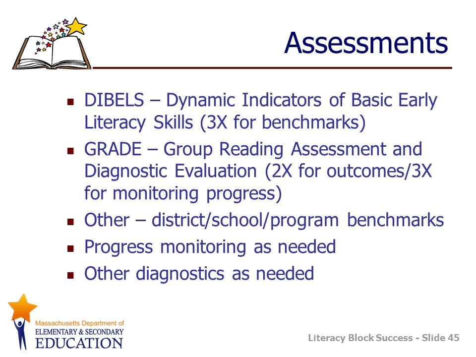 Assessments DIBELS – Dynamic Indicators of Basic Early Literacy Skills (3X for benchmarks)