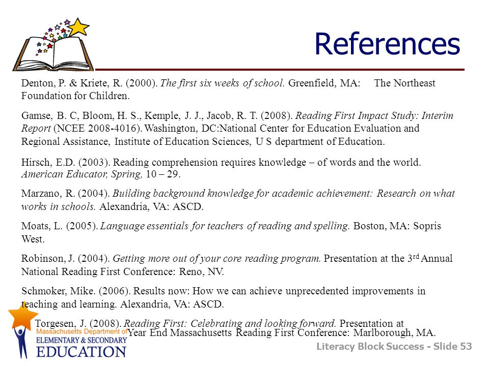 References Denton, P. & Kriete, R. (2000). The first six weeks of school. Greenfield, MA: The Northeast Foundation for Children.
