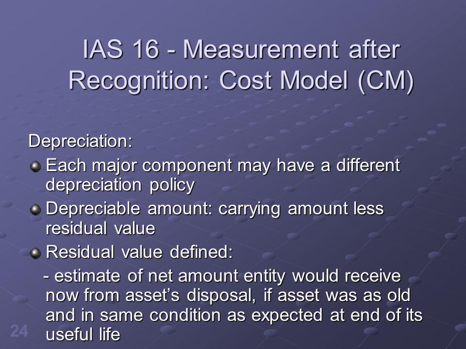 IAS 16 - Measurement after Recognition: Cost Model (CM)