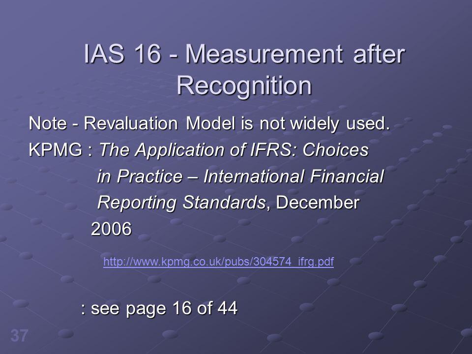 IAS 16 - Measurement after Recognition