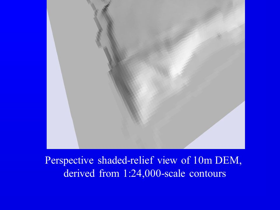 Perspective shaded-relief view of 10m DEM,