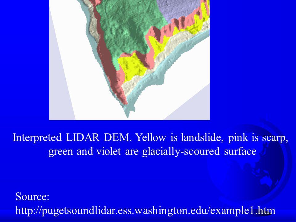 Interpreted LIDAR DEM. Yellow is landslide, pink is scarp,