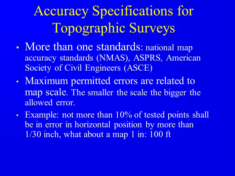 Accuracy Specifications for Topographic Surveys