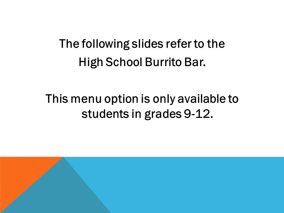 The following slides refer to the High School Burrito Bar