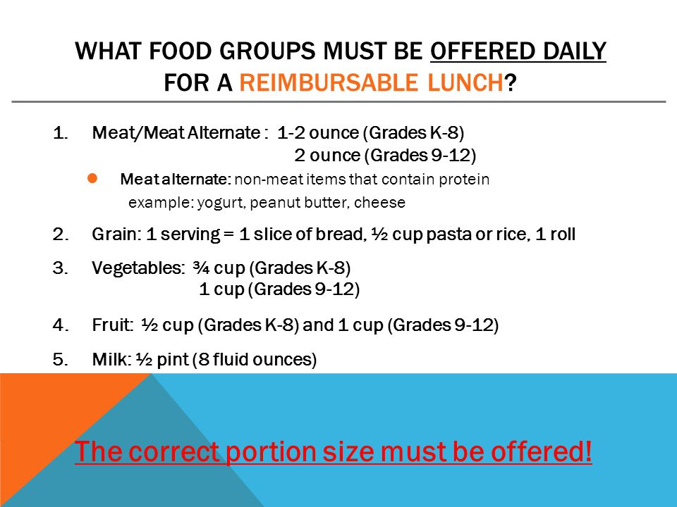 What food groups must be offered daily for a reimbursable Lunch