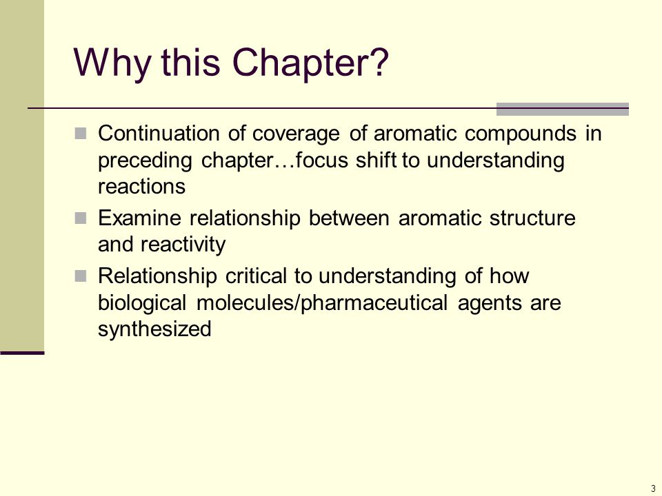 Why this Chapter Continuation of coverage of aromatic compounds in preceding chapter…focus shift to understanding reactions.