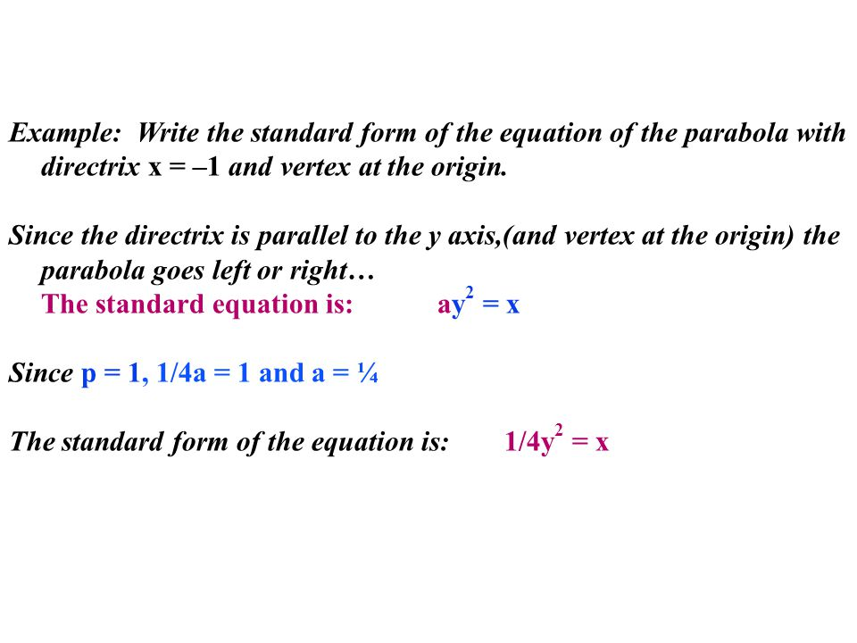 Example: Write the standard form of the equation of the parabola with directrix x = –1 and vertex at the origin.