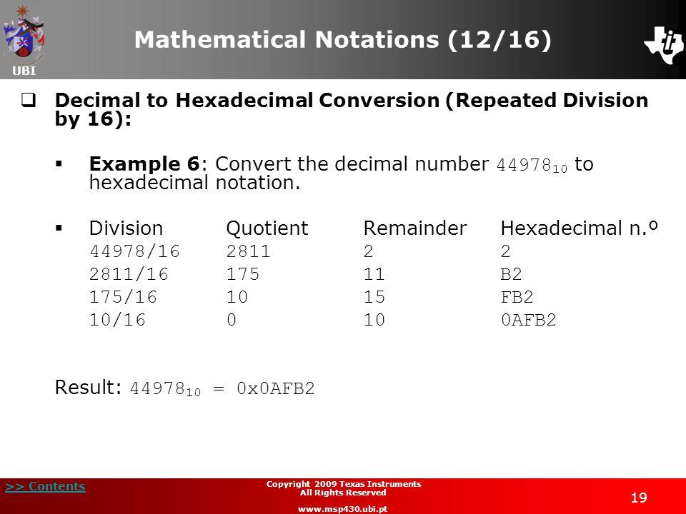 Mathematical Notations (12/16)