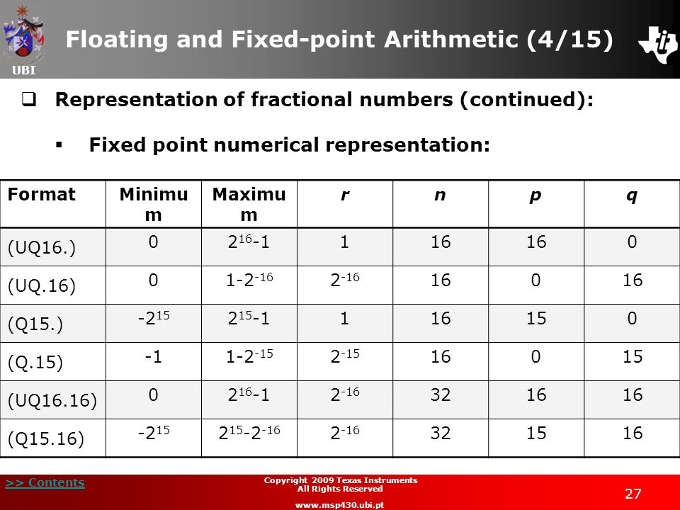 Floating and Fixed-point Arithmetic (4/15)