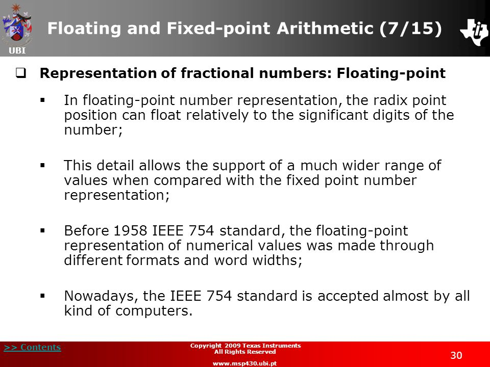Floating and Fixed-point Arithmetic (7/15)