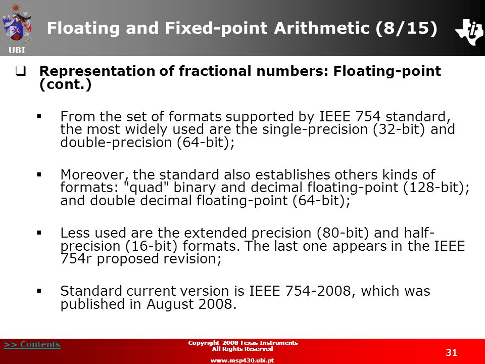 Floating and Fixed-point Arithmetic (8/15)