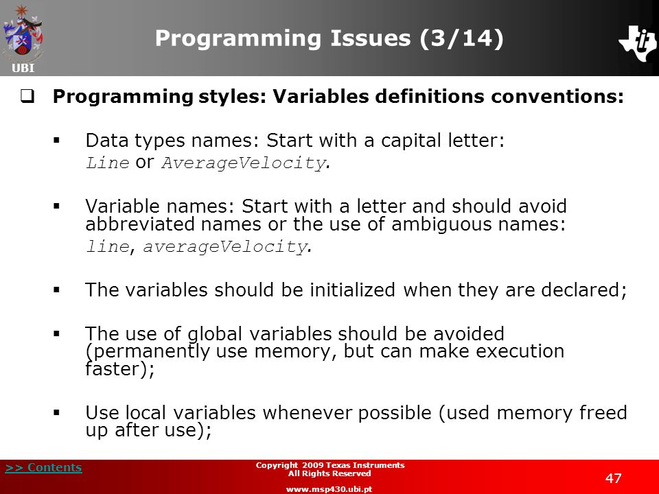 Programming Issues (3/14)