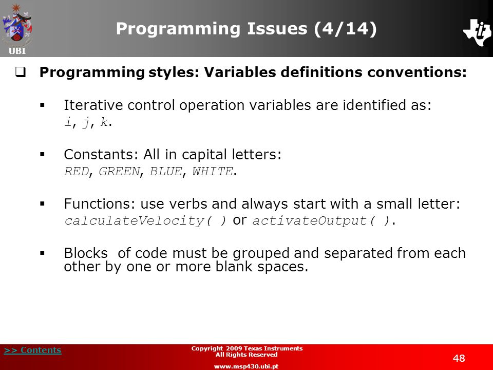 Programming Issues (4/14)