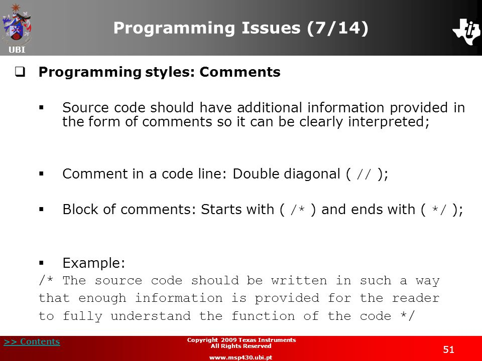 Programming Issues (7/14)
