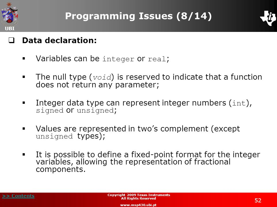 Programming Issues (8/14)