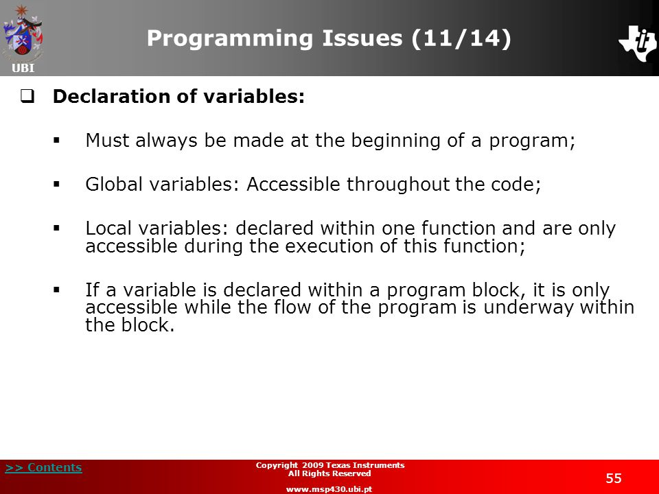Programming Issues (11/14)