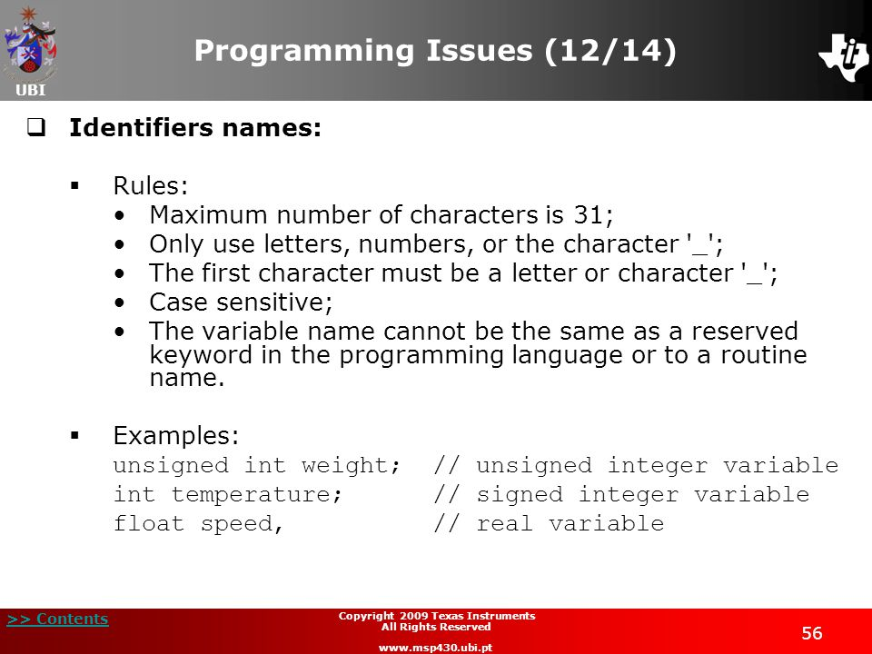 Programming Issues (12/14)